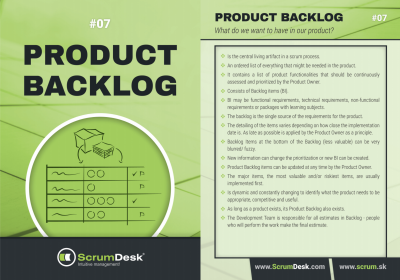 what is product backlog epic feature user story ScrumDesk Scrum cards