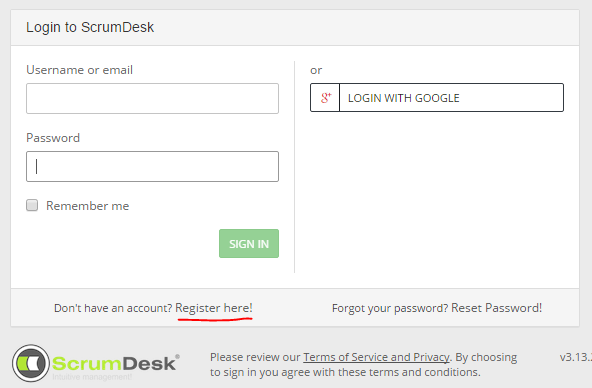 ScrumDesk register login signup free scrum online project