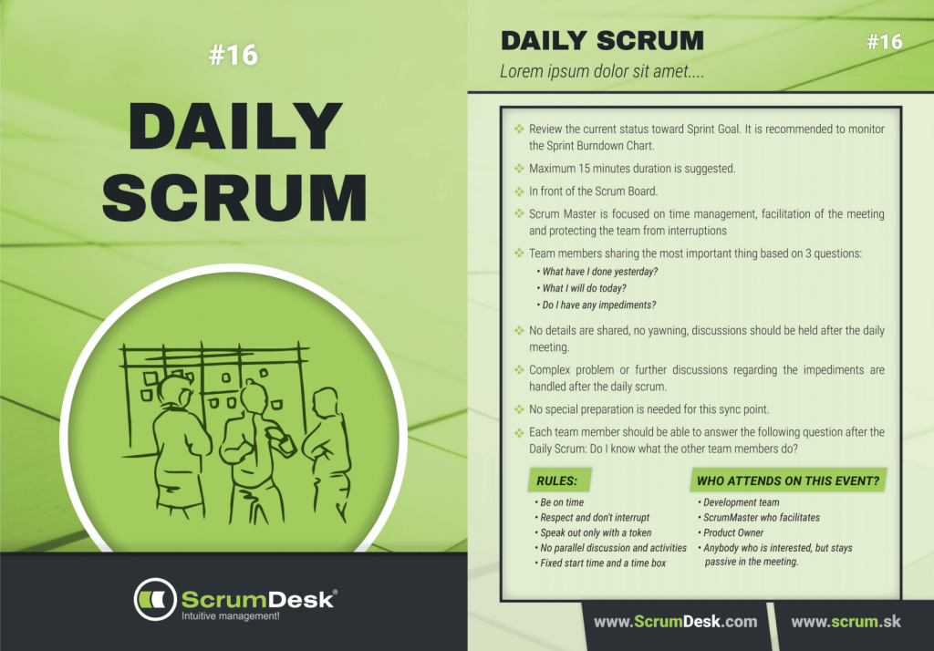what is daily scrum meeting scrumdesk scrum cards