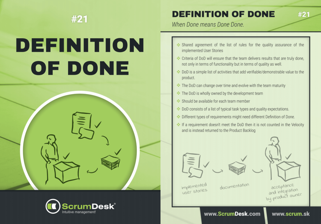 what is definition of done scrumdesk scrum cards