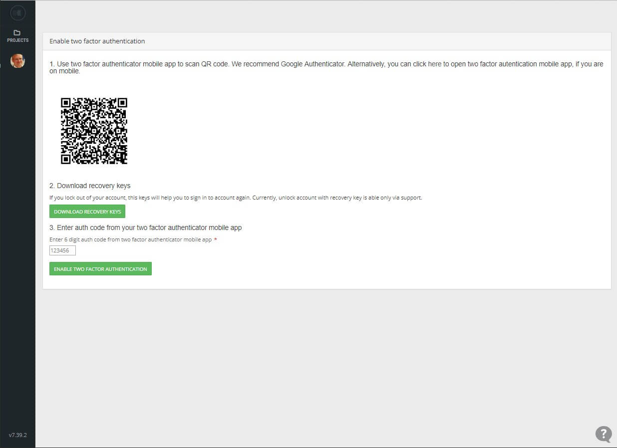 2FA screen 4 - Scan barcode to Google Authenticator