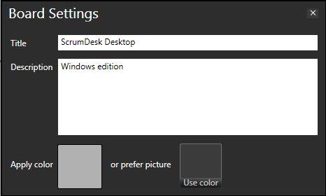 scrumdesk windows board settings