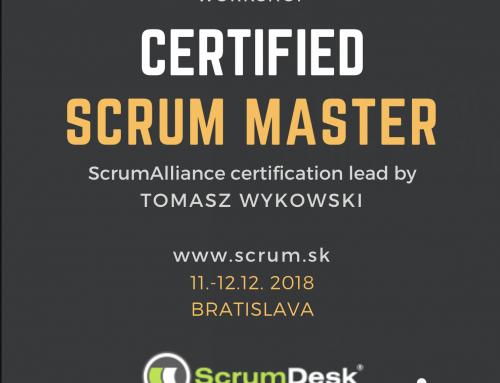 Certified ScrumMaster course, December 11-12, 2018, Bratislava