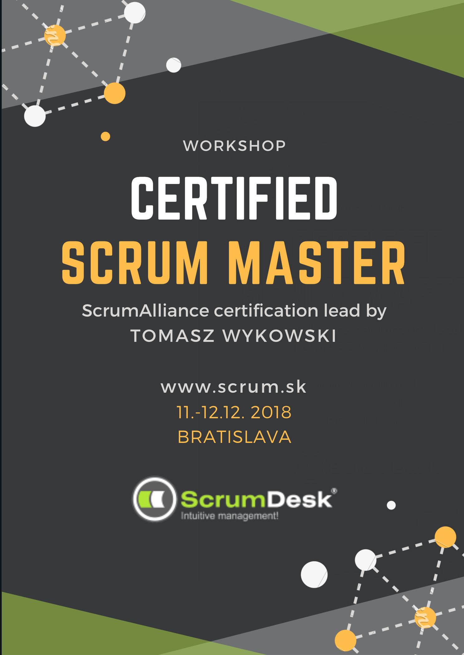 Certified Scrummaster Course December 11 12 2018 Bratislava