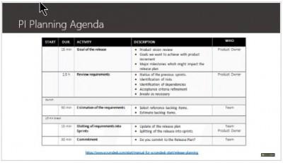 program increment planning agenda