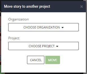 ScrumDesk choose target organization and project move backlog item