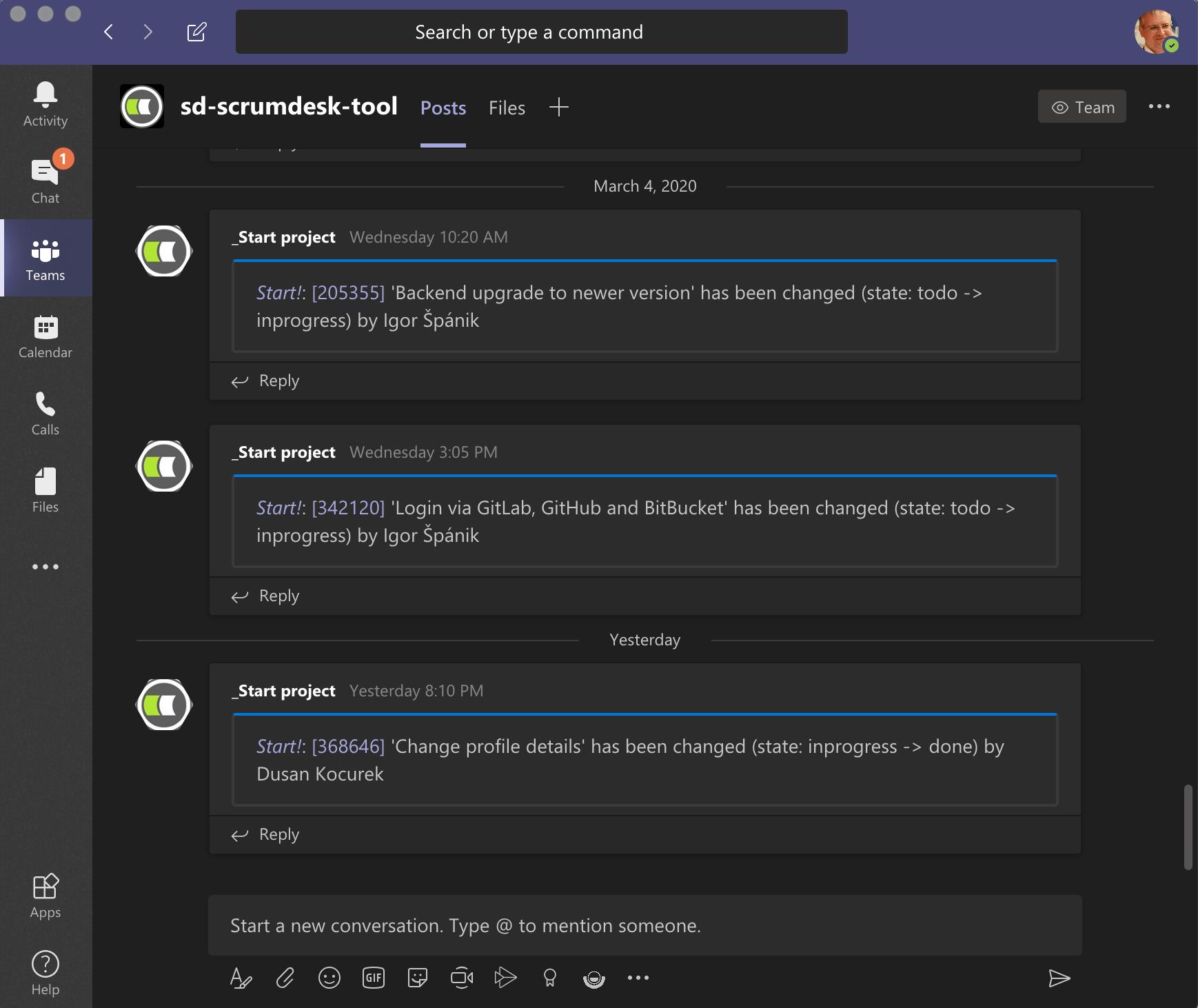 ScrumDesk notification messages in Microsoft Teams