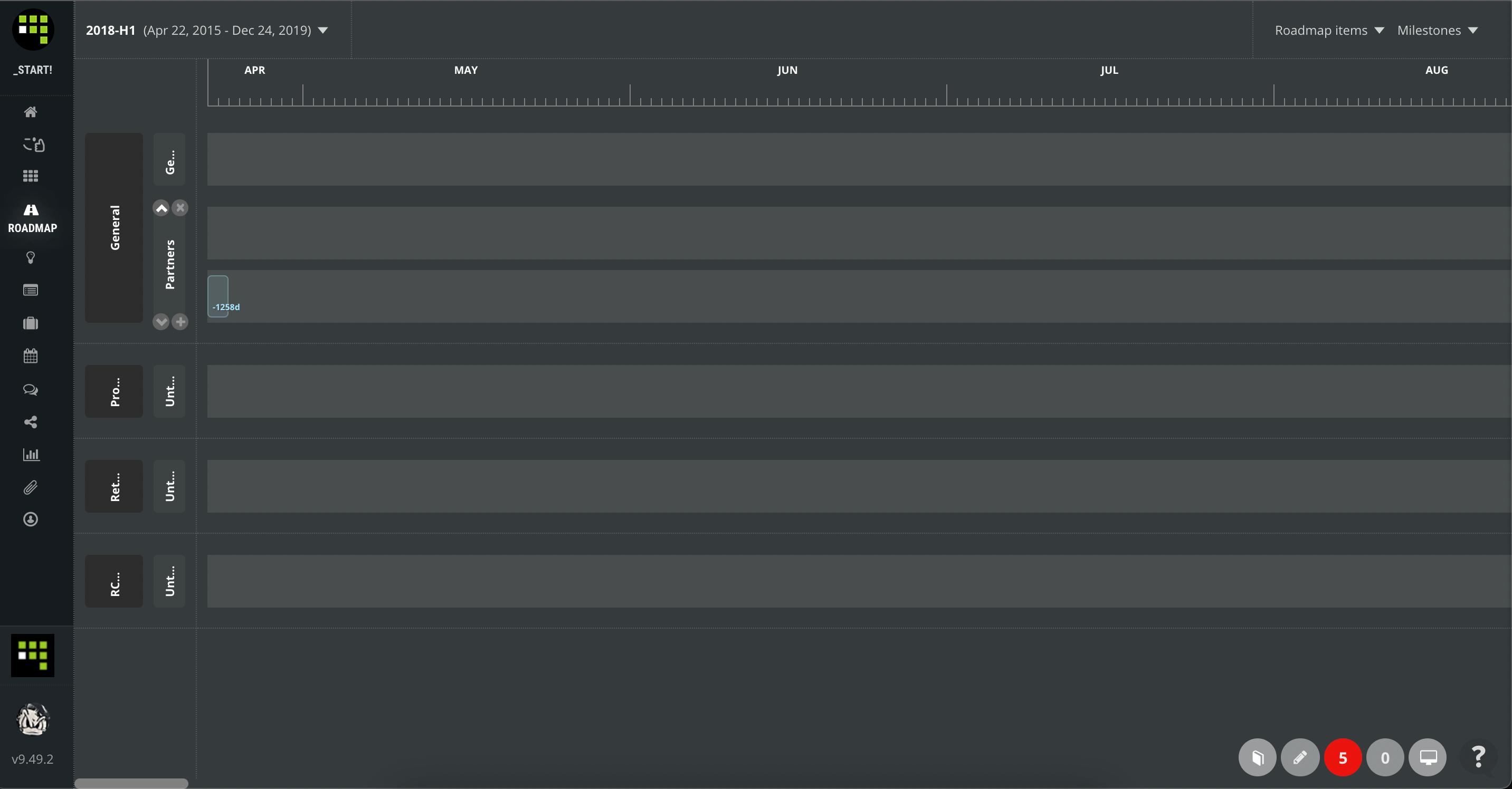 how to change order of roadmap rows in ScrumDesk