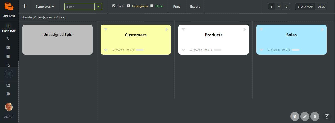 Start - CRM - product backlog epics agile product example