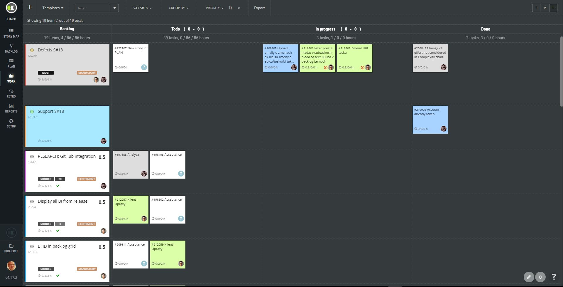 ScrumDesk work kanban board task management drag drop workflow scrum agile scrummaster