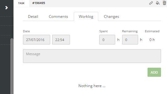 ScrumDesk work log edit worklog time entry task management