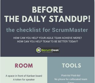 checklist daily standups scrummaster scrum agile project management team template meeting