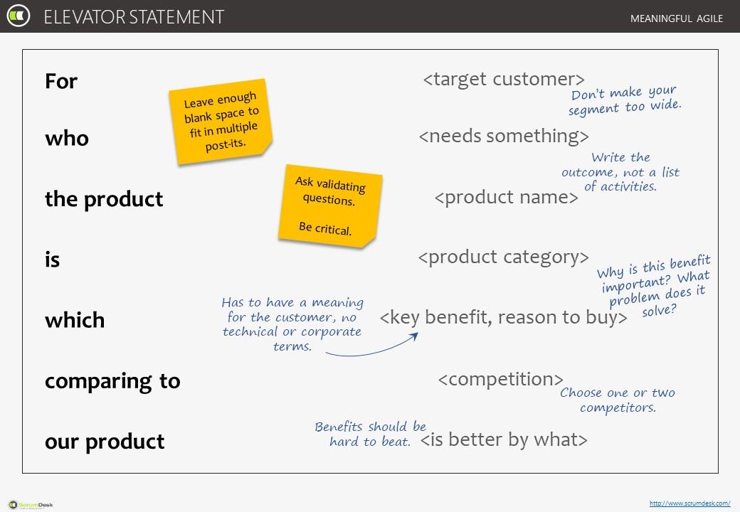 Elavator statement template