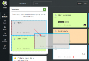 scrumdesk create backlog item from user story template product owner scrum project management tool